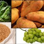 broccoli sweet potato grape brown rice stock photo