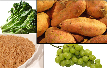 broccoli sweet potato grape brown rice stock photo