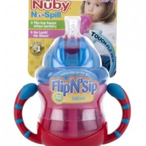 Nuby-Two-Handle-Flip-N-Sip-Straw-Cup-Red-with-Blue-12-Plus-Months8-oz-0-0