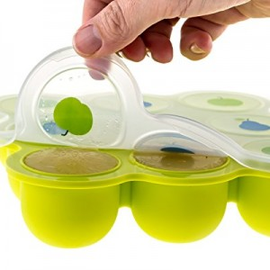 Tutti-Bimbi-Homemade-Baby-Food-Breastmilk-Storage-Portion-Control-Container--Non-Stick-Reusable-Silicone-Freezer-Tray-Great-for-Popsicles-Ice-Cubes--BPA-Free-with-Clip-On-Lid-Apple-Lid-0