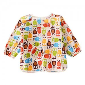 Owl-Cotton-Waterproof-Sleeved-Bib-Baby-Feeding-Bibs-Art-Smock-2-PCS-0